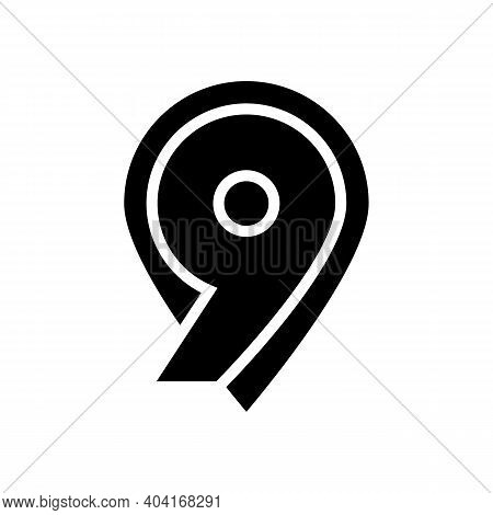 Ninth Number Glyph Icon Vector. Ninth Number Sign. Isolated Contour Symbol Black Illustration