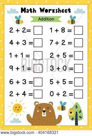 Math Worksheet For Kids. Addition. Mathematic Activity Page With Cute Owls