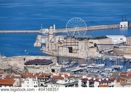 The Vieux Port Of Marseille With On One Side, The Fort Gentaume And On The Other Side, The Fort Sain