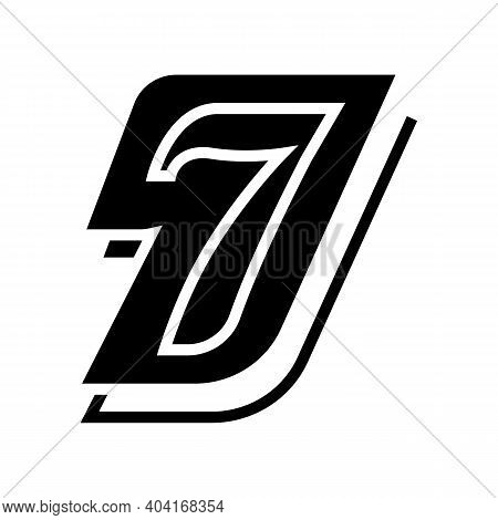 Seventh Number Glyph Icon Vector. Seventh Number Sign. Isolated Contour Symbol Black Illustration