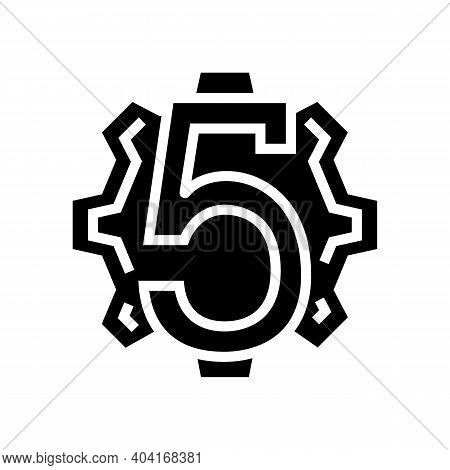 Fifth Number Glyph Icon Vector. Fifth Number Sign. Isolated Contour Symbol Black Illustration