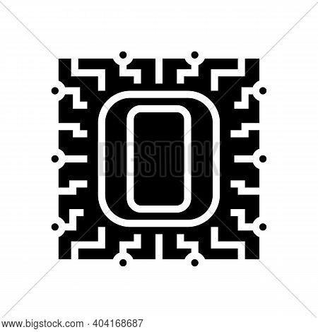 Zero Number Glyph Icon Vector. Zero Number Sign. Isolated Contour Symbol Black Illustration