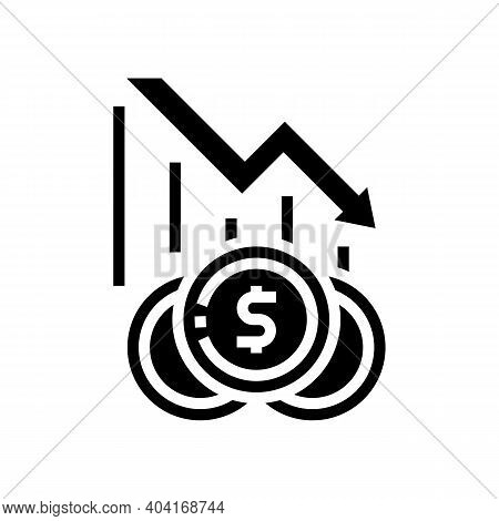 Finance Lost, Poverty Problem Glyph Icon Vector. Finance Lost, Poverty Problem Sign. Isolated Contou