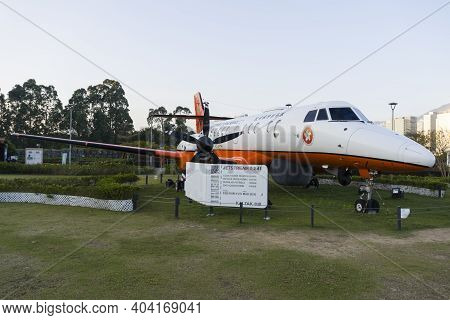 Hong Kong - November 2020 : Public Exhibition Of Jetstream 41 Fixed-wing Aircraft (a Decommissioned