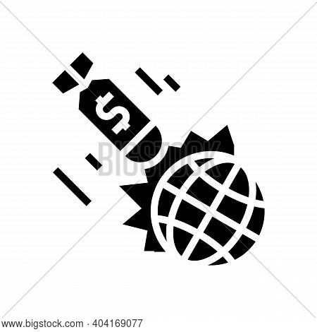 War Poverty Problem Glyph Icon Vector. War Poverty Problem Sign. Isolated Contour Symbol Black Illus