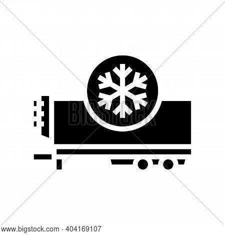 Refrigerator Trailer Glyph Icon Vector. Refrigerator Trailer Sign. Isolated Contour Symbol Black Ill