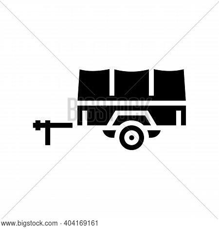 Transportation Trailer Glyph Icon Vector. Transportation Trailer Sign. Isolated Contour Symbol Black