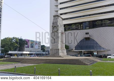 Hong Kong - November 2020 : The Cenotaph, An Iconic Stone Memorial Commemorates The Dead From Both W
