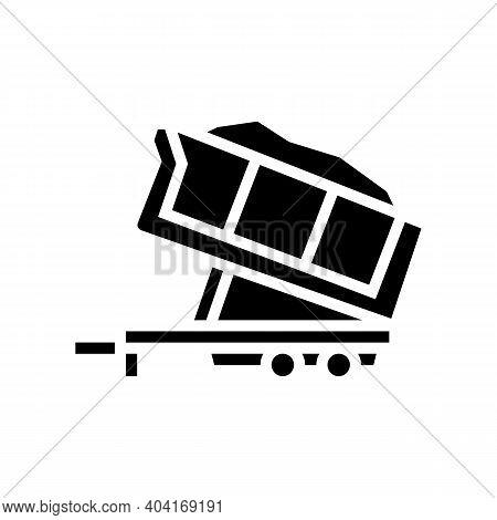 Sand Transportation Trailer Glyph Icon Vector. Sand Transportation Trailer Sign. Isolated Contour Sy