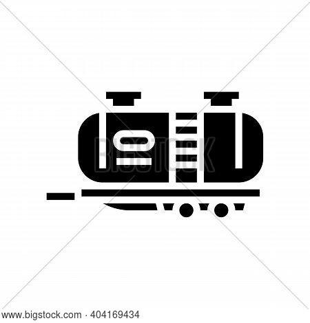 Petrol Transportation Trailer Glyph Icon Vector. Petrol Transportation Trailer Sign. Isolated Contou