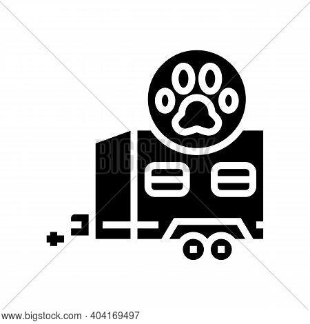 Animal Transportation Trailer Glyph Icon Vector. Animal Transportation Trailer Sign. Isolated Contou