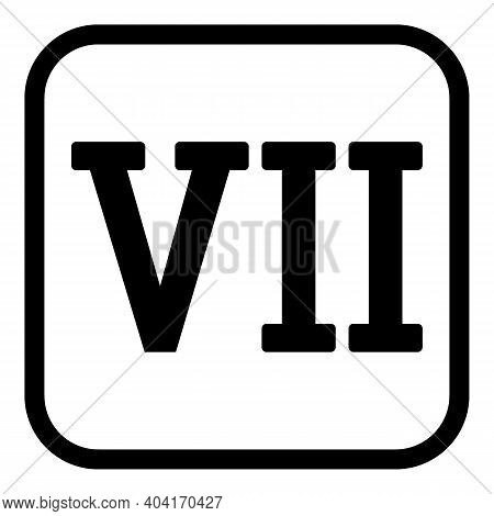 Roman Numeral Seven Button On White Background. Vector Illustration.