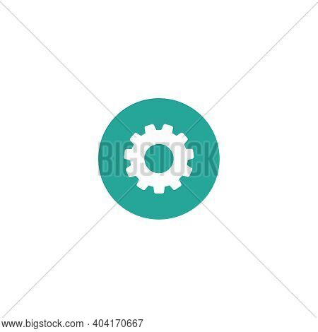 Gear Icon Isolated On White. White Pinion In Blue Circle. Vector Flat Illustration For Technology Or