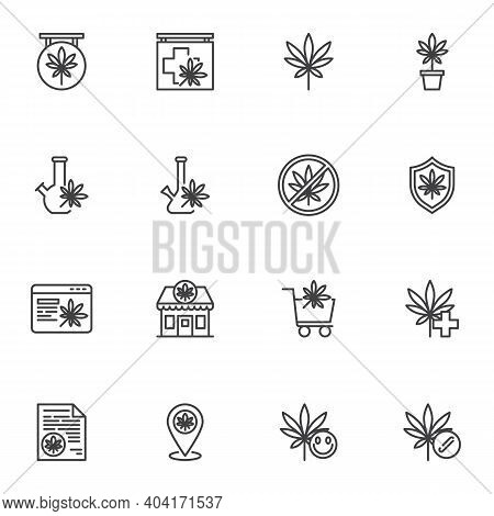 Marijuana, Cannabis Line Icons Set, Outline Vector Symbol Collection, Linear Style Pictogram Pack. S