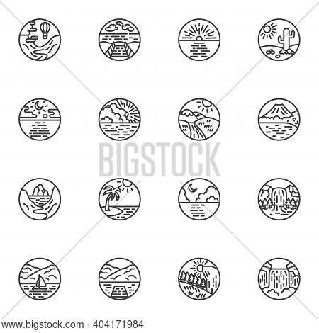 Landscape, Seascape Line Icons Set, Outline Vector Symbol Collection, Linear Style Pictogram Pack. S