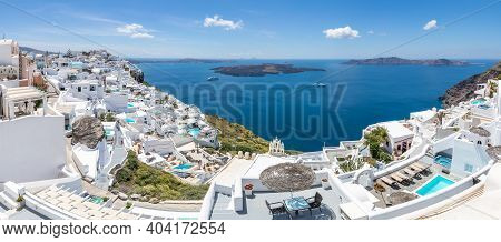 Luxury Summer Travel Landscape. Beautiful Panoramic View On The Mediterranean Sea, Caldera And Volca