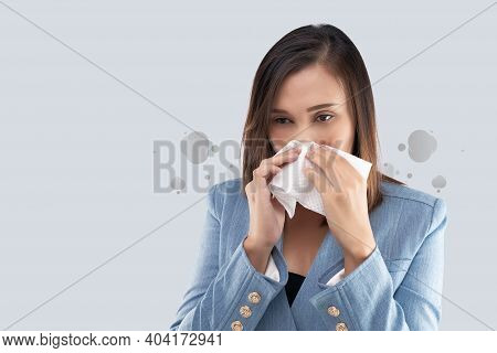 Businesswoman Nose Burning Sensation Because Of The Toxic Smoke And Particulate Matter In The Air. W