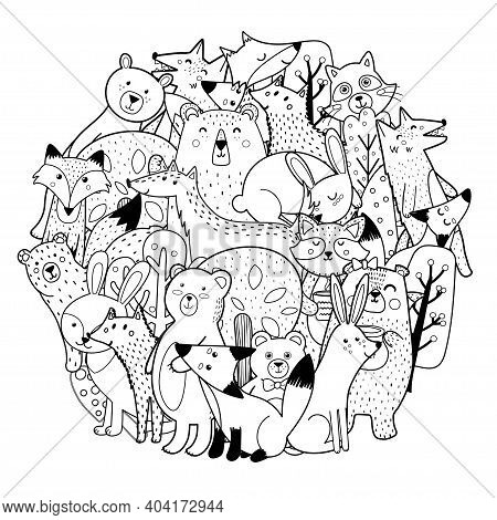 Circle Shape Coloring Page With Funny Forest Characters. Cute Woodland Animals