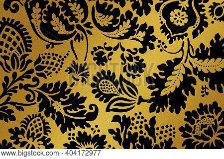 Vintage golden floral pattern remix from artwork by William Morris
