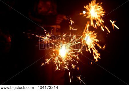 Sparkel Sticks Which Are Fireworks Lightening During The Celebration Of Diwali Festival Of India. Us