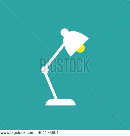 Office Reading Lamp, Table Lamp On Blue Background. Imagination, Study Icon. New Business Idea. Flat