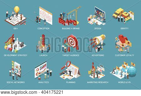 Branding Concept Icons Set With Launching Brand Creating Idea Analytics Advertising Stratedy Develop