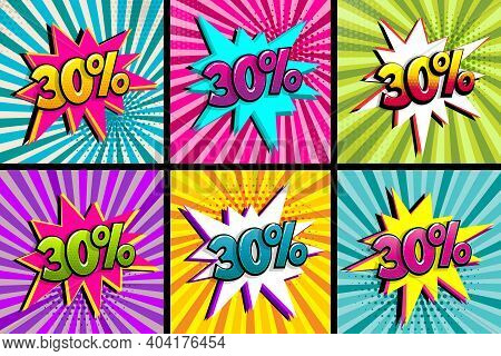 Comic Text 30 Percent Sale Set Discount. Colored Speech Bubble On Radial Background. Comics Book Exp