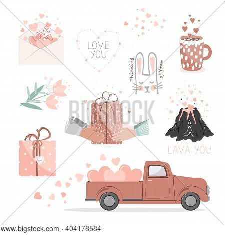 Set Of Cute Pictures For Valentine Day. Red Pickup Truck With Hearts, Gifts, Flowers, Love Envelope,