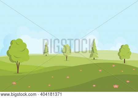 Spring Or Summer Landscape With Hills And Trees. Vector Nature Landscape Background. Illustration In