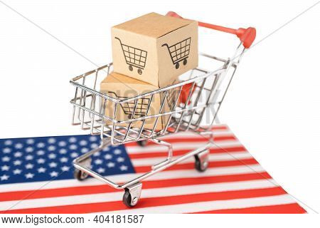 Box With Shopping Cart Logo And Usa America Flag, Import Export Shopping Online Or Ecommerce Finance