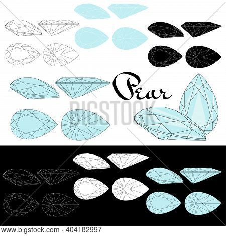 Pear Cut. Cutting Gems Stones. Types Of Diamond Cut. Four Sides Of Jewelry With Facets For Backgroun