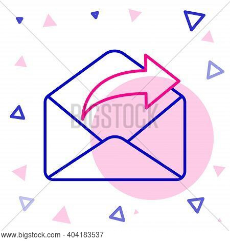 Line Outgoing Mail Icon Isolated On White Background. Envelope Symbol. Outgoing Message Sign. Mail N