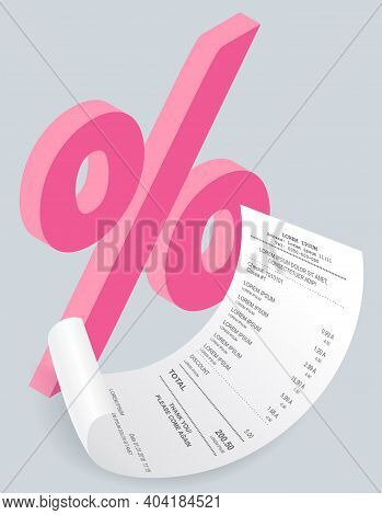 Payment Check Isometric. Buying Financial Invoice Bill Purchasing Calculate Pay With Percent Sign. R