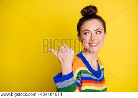 Photo Of Young Beautiful Girl Happy Positive Smile Advert Show Gesture Thumb Empty Space Isolated Ov