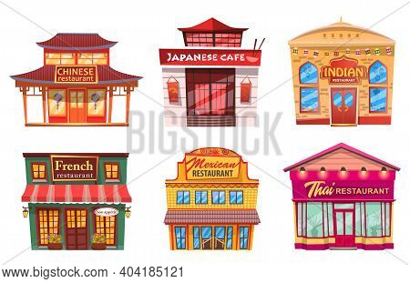 Six Isolated Buildings, Traditional World Cuisines Restaurants And Cafes. Vector Facade Exterior Des