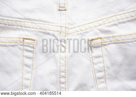 Denim Texture Of White Jeans Background, Classic Jeans. White Jeans Rear Pocket.
