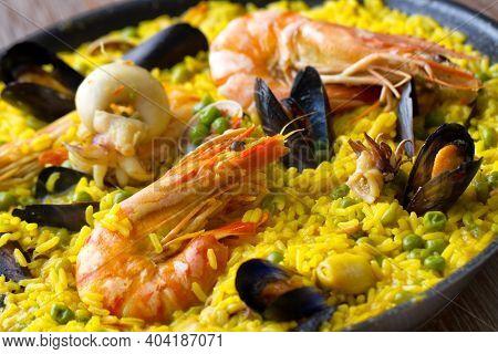 Seafood Spanish Paella On A Pan. High Quality Photo.