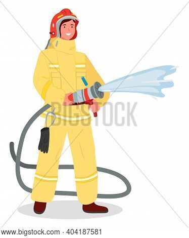 Illustration Of A Girl Wearing Fireman Safety Costume With Helmet And Holding Fire Hose Isolated On