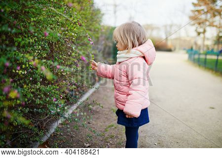 Adorable Little Toddler Girl In Parisian Park On A Spring Or Fall Day. Outdoor Activities For Kids