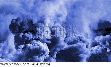 Multi Colored Background Of Heavy Smoke, Carbon Dioxide Concept - Abstract 3d Rendering