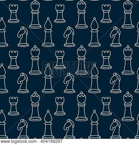 Seamless Pattern With Chess Pieces. Vector Background With Chess King, Queen, Rook, Bishop, Knights,
