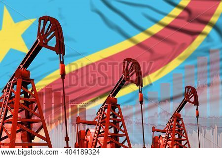 Democratic Republic Of Congo Oil And Petrol Industry Concept, Industrial Illustration On Democratic