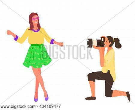 Smart Professional Female Taking Photo Of Woman Vector Illustration. Hardworking Lady With Professio