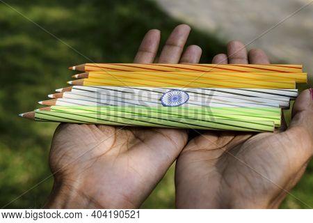 Indian Flag Tricolor Tiranga Saffron, White And Green With Ashoka Chakra With Colorful Pencils . Fem