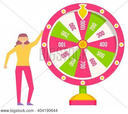 Game Fortune Wheel. Girl Playing Risk Game With Fortune Wheel And Lottery. Casino And Gambling Vecto