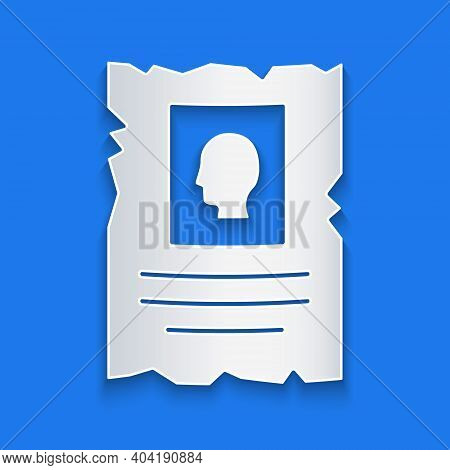 Paper Cut Wanted Western Poster Icon Isolated On Blue Background. Reward Money. Dead Or Alive Crime