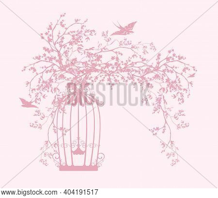 Blooming Spring Sakura Tree Branches With Open Cage And Flying Swallow Birds Vector Silhouette Desig