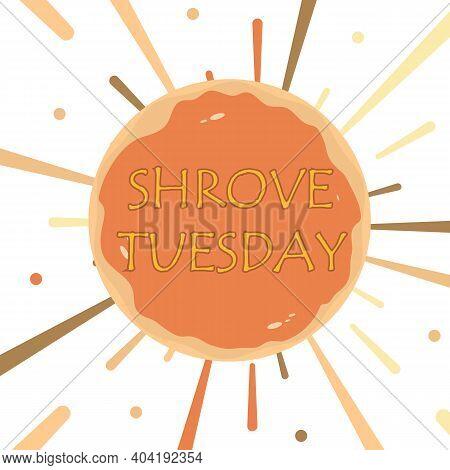 Shrove Tuesday With Sun Pancake, Vector Art Illustration.