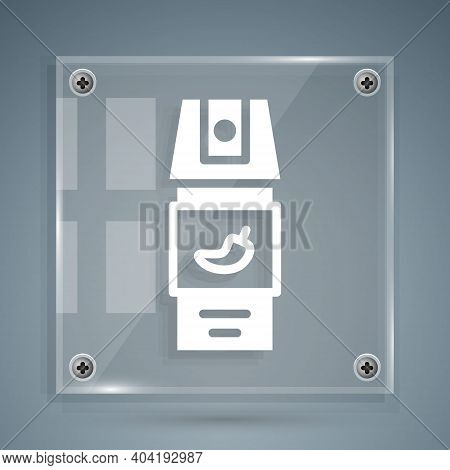 White Pepper Spray Icon Isolated On Grey Background. Oc Gas. Capsicum Self Defense Aerosol. Square G