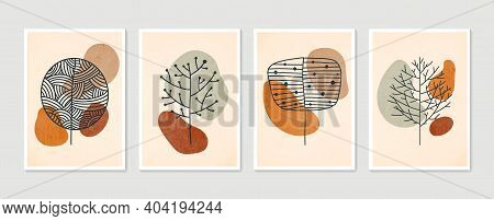 Collection Of Contemporary Art Posters In Pastel Colors. Botanical Wall Art Vector Set. Minimal And